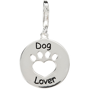 Heart U Back Dog Lover Paw Charm