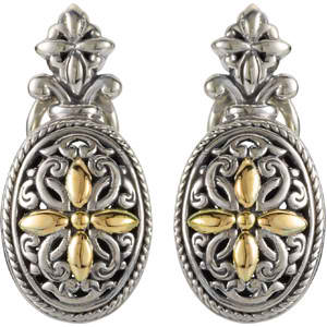 Filigree Design Omega Clip Earrings with 18K Yellow Gold Accents