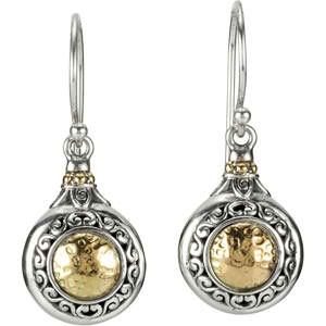 Sterling Silver Fashion Earrings with 18KT Yellow Accents