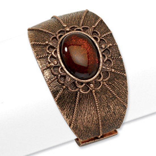 Copper-tone Brown Acrylic Stone Hinged Cuff Bangle