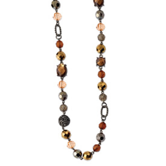 Black-plated Multicolored Glass & Beads w/ Velor Cord 42in Neckl