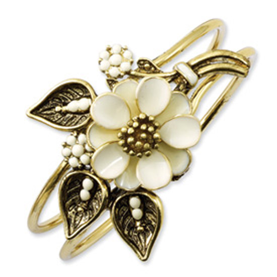 Gold-tone Cream Enamel Flower Hinged Bangle