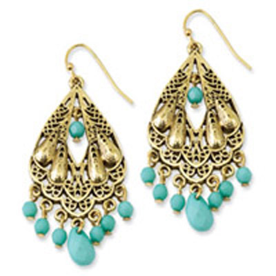 Gold-tone Teal Acrylic Beads Dangle Earrings