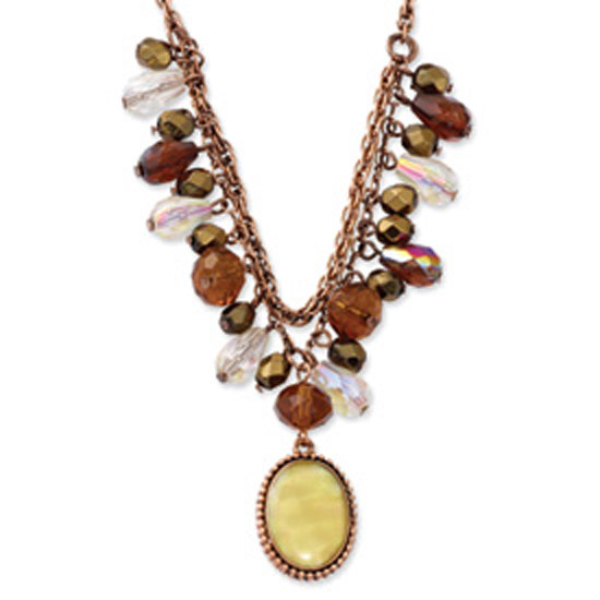 Copper-tone Multicolor Acrylic Beads & MOP 16in w/ext Necklace