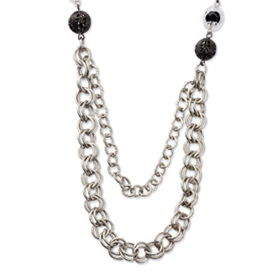 Silver-tone Black & Clear Glass & Acrylic Beads 28in Necklace
