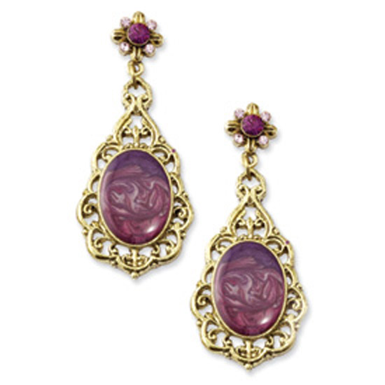 Brass-tone Purple Crystal & Enamel Post Dangle Earrings