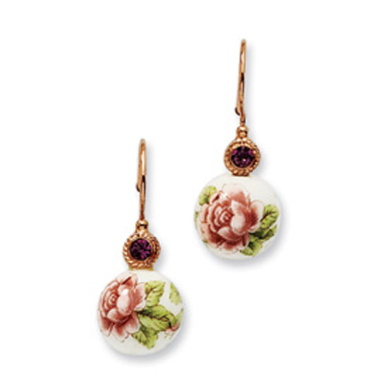 Rose-tone Purple Crystal & Rose Flower Decal Earrings