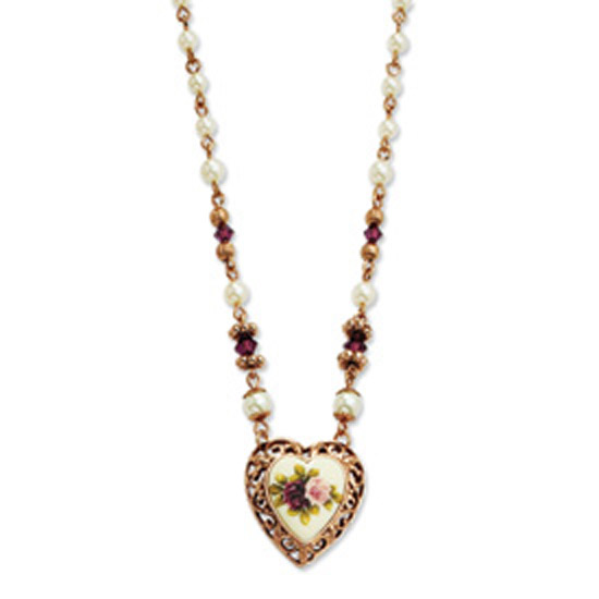 Rose-tone Purple Crystal & Simulated Pearl w/Decal 15in Necklace