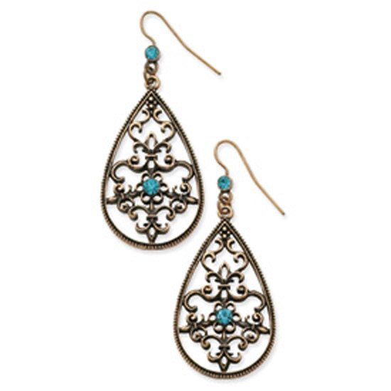Burnished Copper-tone Aqua Glass Stone Teardrop Earrings