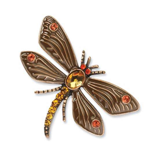 Copper-tone Hyacinth/Tangerine Glass Stone Dragonfly Pin