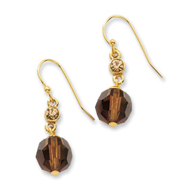 Gold-tone Light Colorado Stone & Brown Bead Dangle Earrings