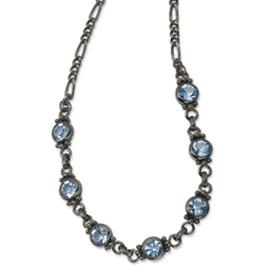 Black-plated Faceted Light Blue Crystal Link 15.5in w/ext Neckla