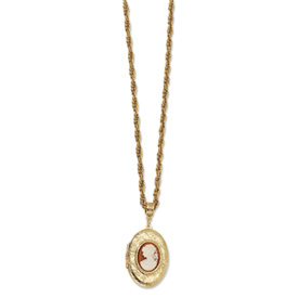 "Gold-tone Cameo Locket on 30"" Necklace"