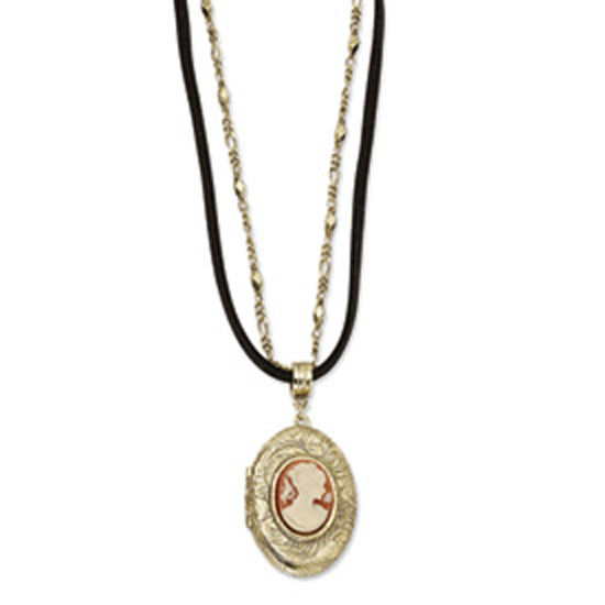 "Brass-tone Cameo Locket on 16"" w/ext Chain/Cord Necklace"