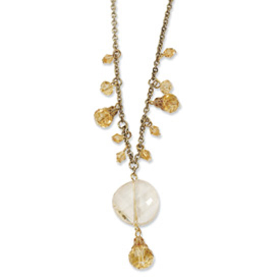 Gold-tone Light Colorado Glass Beads 16in w/Ext Necklace