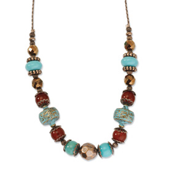 Copper-tone Aqua & Brown Acrylic Beads 40in Necklace