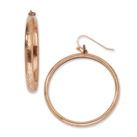 Copper-tone Patterned Hoop Dangle Earrings