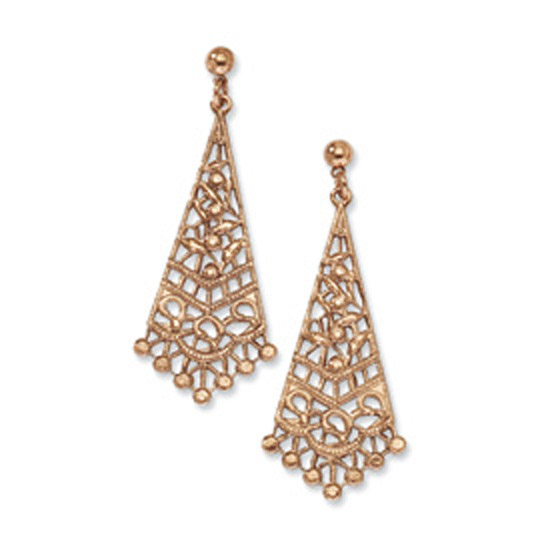 Copper-tone Filigree Post Dangle Chandelier Earrings