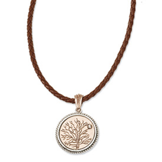 Copper-tone Give Life & Tree Reversible Pendant 16in w/ Ext Neck