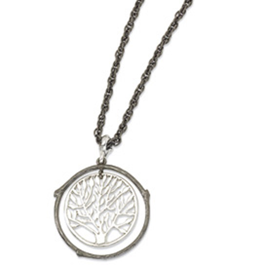 Silver-tone & Black-plated Tree Pendant 26in Necklace