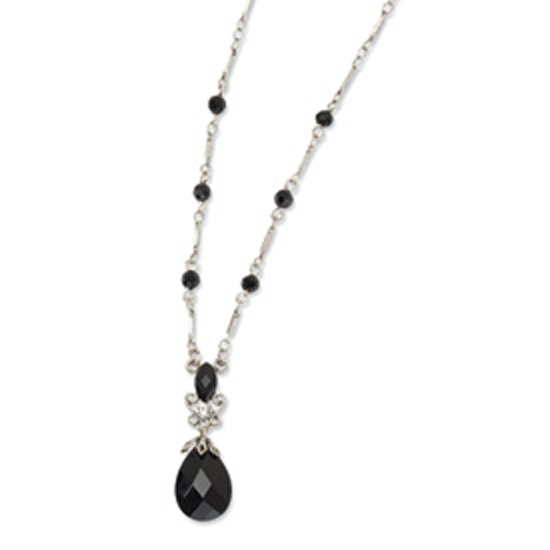 Silver-tone Clear & Black Glass Beads & Epoxy Stones 16in Neckla