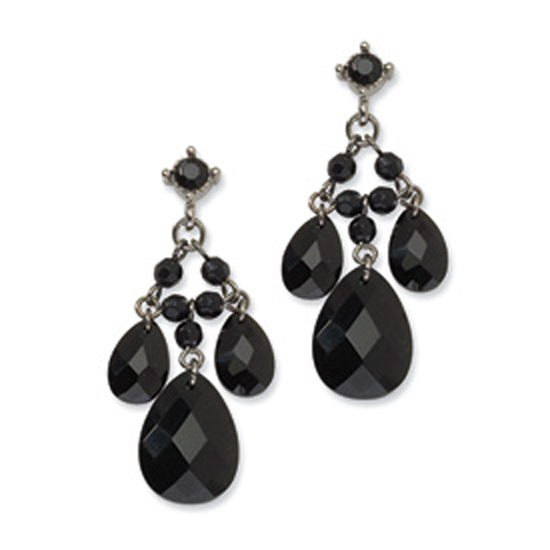 Black-plated Black Glass & Acrylic Beads Post Dangle Earrings