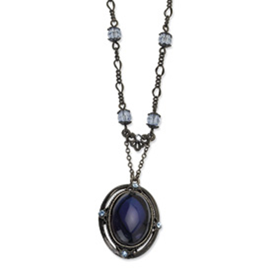 Black-plated Light & Dark Blue Crystal 16in w/ext Necklace