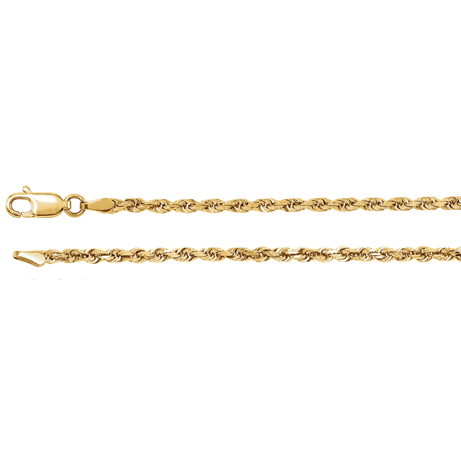 "14kt Yellow 2.5mm Diamond Cut Rope 18"" Chain"