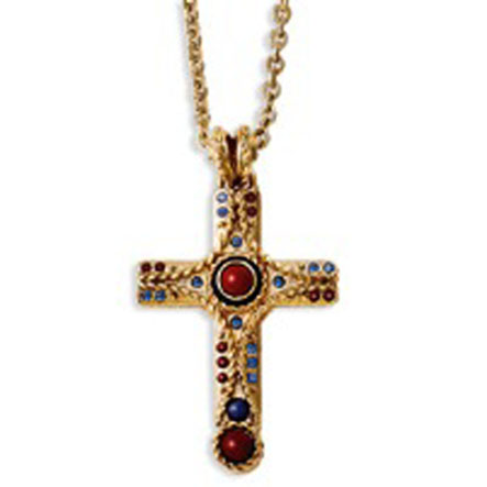 Raised Cross 20in w/extender Necklace
