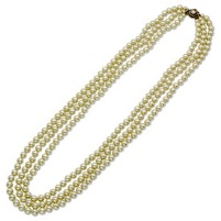 Simulated 8mm Pearls 30in Triple Strand Necklace