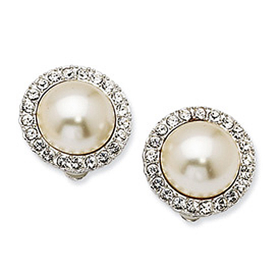 Simulated 15mm Mabe Pearl & Swarovski Crystal Clip Earrings