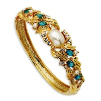 Gold-plated Swarovski Crystal & Simulated Pearl Blue 7 In Bangle
