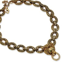 Gold-plated Swar Crystal Antiqued 18In w/2In ext Lion Necklace