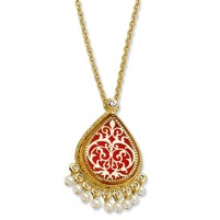 Gold-plated Enamel 17In w/3 in ext French Moroccan Pin/Pendant