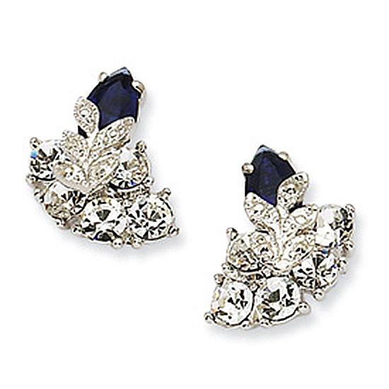 Silver-tone Swarovski Crystal Blue Snowflake Post Earrings