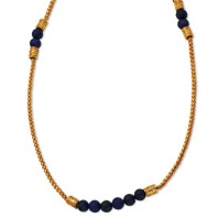 Gold-plated Blue Beaded 29In w/3in ext Franco Chain Necklace