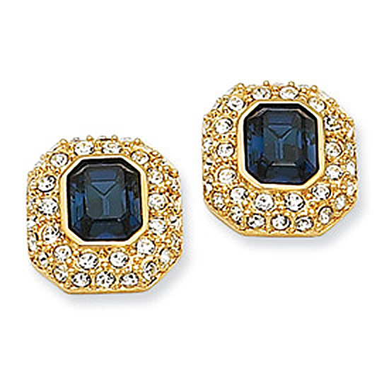 Swarovski Crystal Dark Blue Emerald Cut Post Earrings