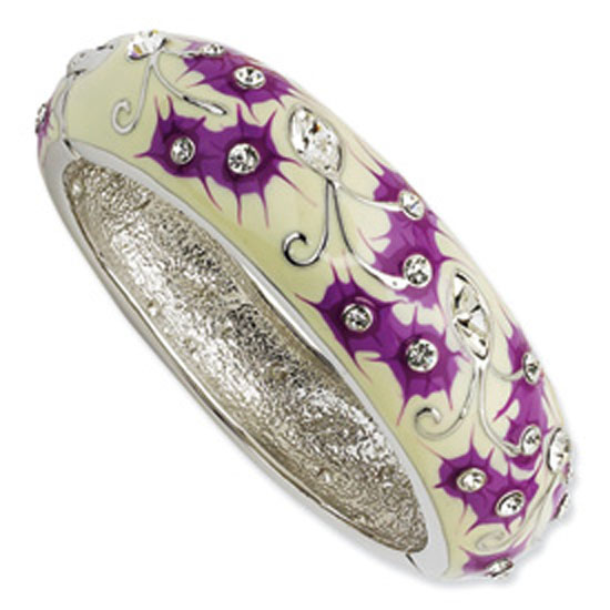 Silver-tone Crystal White/Purple Enameled Floral Bangle