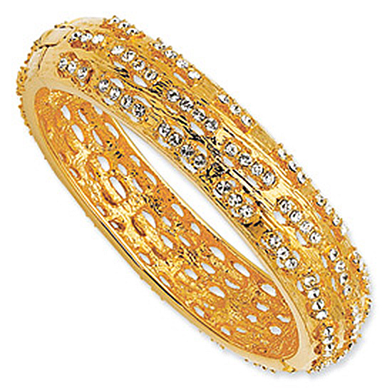 Gold-plated Swarovski Crystal Dashes Bangle