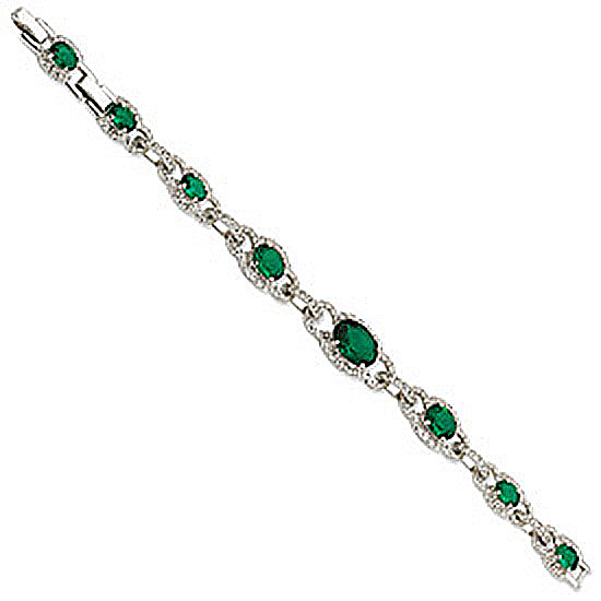 Silver-tone Crystal Green Coco's Keyhole Bracelet