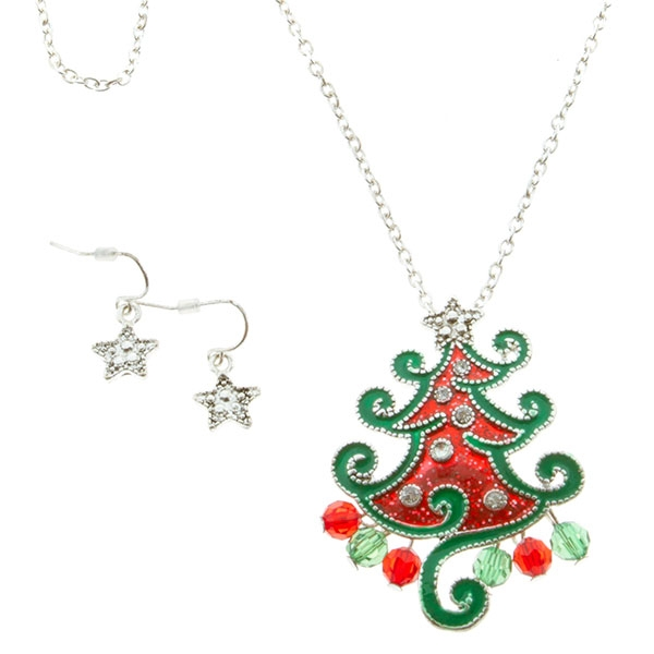 Christmas Tree Necklace/Star Earrings Combo