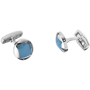 Stainless Steel Blue Agate Cuff Links