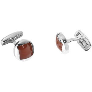 Stainless Steel Red Agate Cuff Links