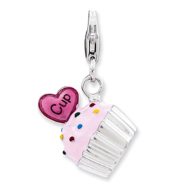 Sterling Silver Enameled 3-D Cupcake Charm