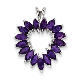 Sterling Silver Rhodium Marquise Amethyst Heart Pendant