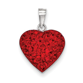 Sterling Silver Red and White Preciosa Crystal Heart Pendant