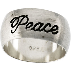 "Antiqued Half Round ""Peace"" Ring"