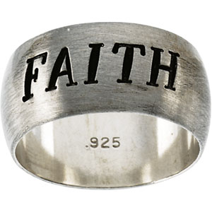 Antiqued Half Round Faith Ring
