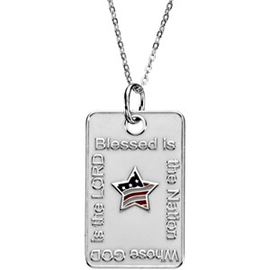 Blessed is the Nation Star Dogtag & Chain