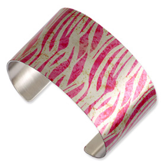 Stainless Steel Zebra Waves Cuff Bangle